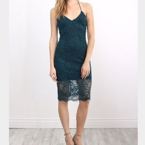 LOVERS AND FRIENDS Teal Lace Midi Dress